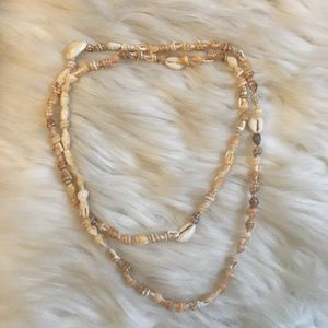 """Seashell Long Necklace made from real shells 36"""""""